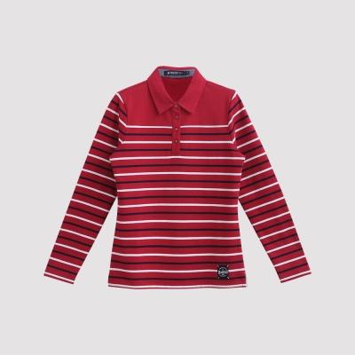 Hang Ten - 女裝 - 雙色條紋休閒POLO衫 - 紅