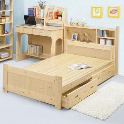 Bernice-松木抽屜型單人床組(書架型收納床頭)(不含床墊)