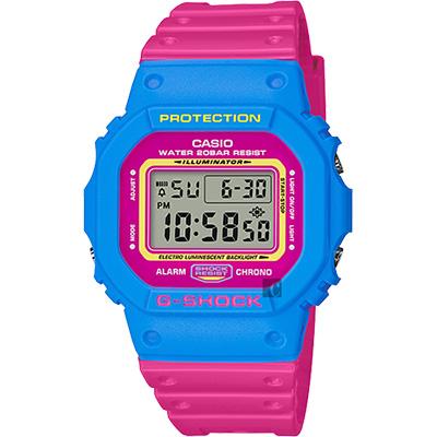 CASIO卡西歐G-SHOCK 80年代經典多彩電子錶-桃紅x藍48.9mm
