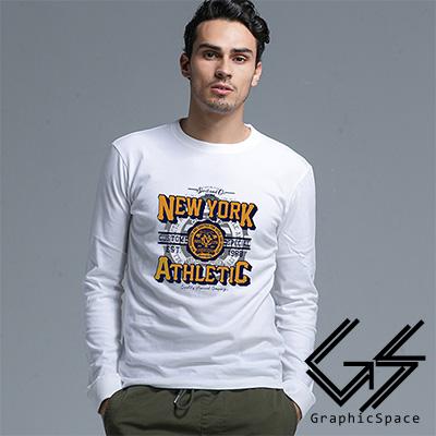 紐約徽章圖案磨毛水洗長袖T恤 (白色)-GraphicSpace