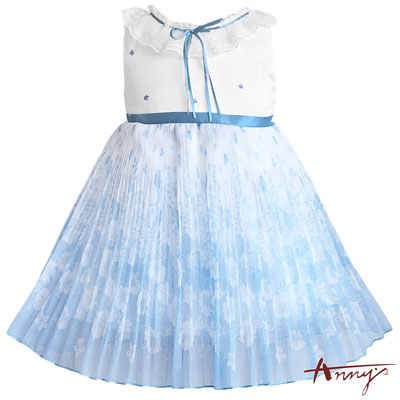 Annys粉嫩花仙子大片荷葉蕾絲領漸層洋裝*7124水藍