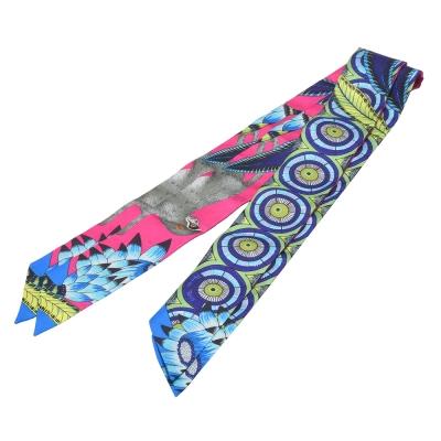 HERMES Savana Dance繽紛造型Twilly絲巾/領結-藍X印度粉_一組
