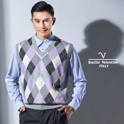 Emilio Valentino 時尚菱格紋V領毛衣背心_灰色(67-2Y3350)
