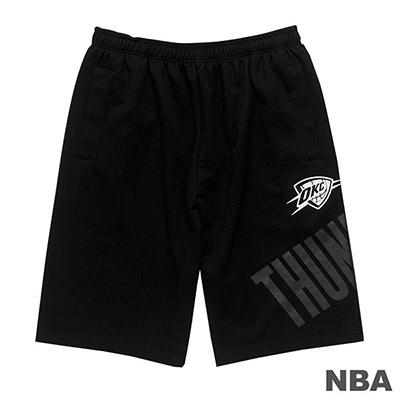 NBA-奧克拉荷馬雷霆隊單色印花棉質短褲-黑 (男)
