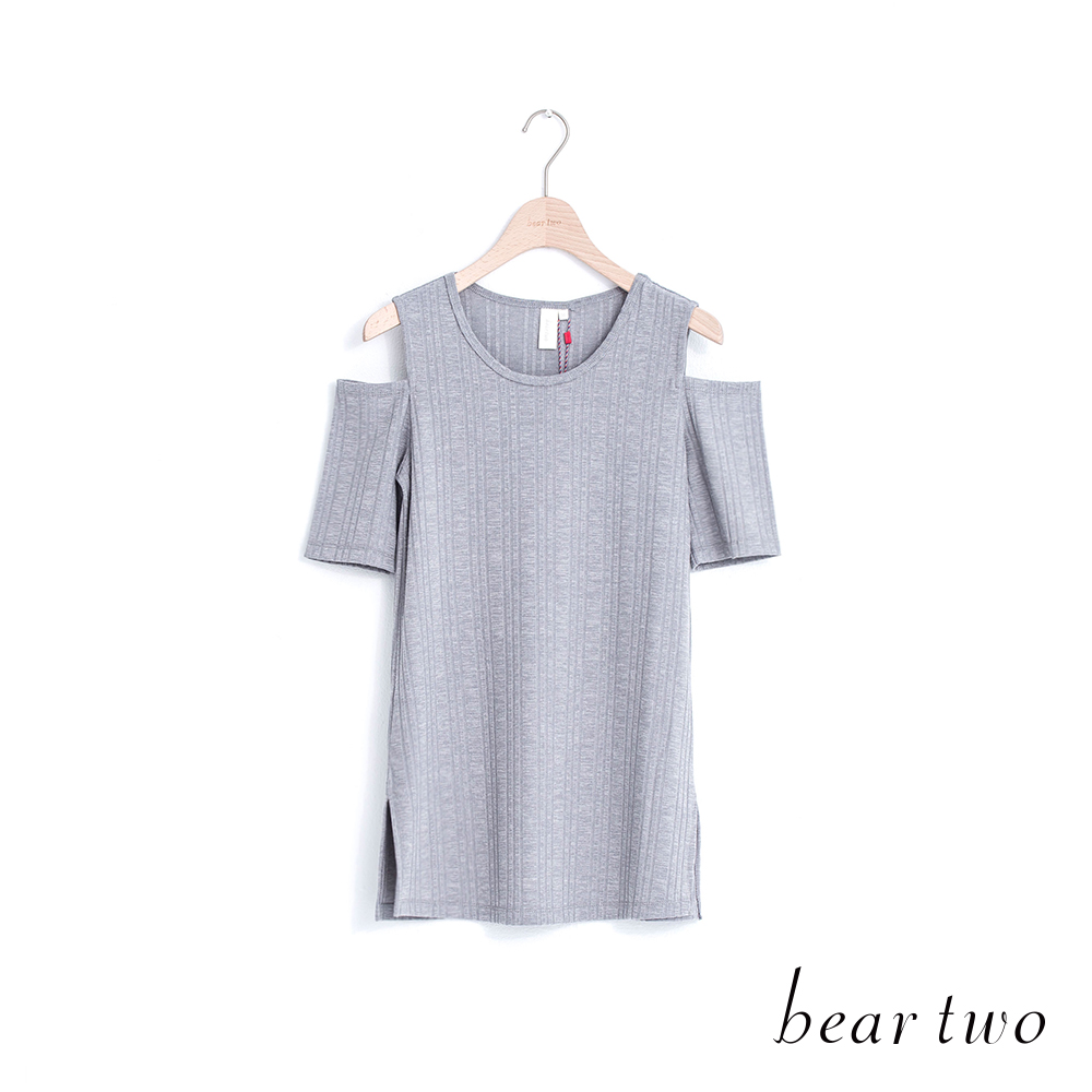 beartwo 簡約露肩開衩羅紋上衣(三色)
