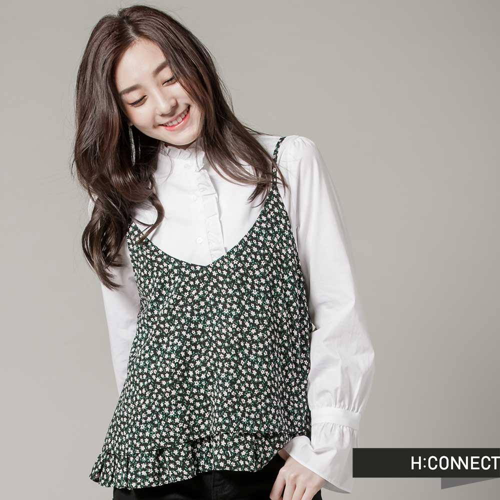 H:CONNECT韓國品牌女裝V領細肩碎花荷葉邊外搭背心黑
