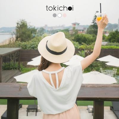 東京著衣 背部設計鏤空圓領T(共三色)