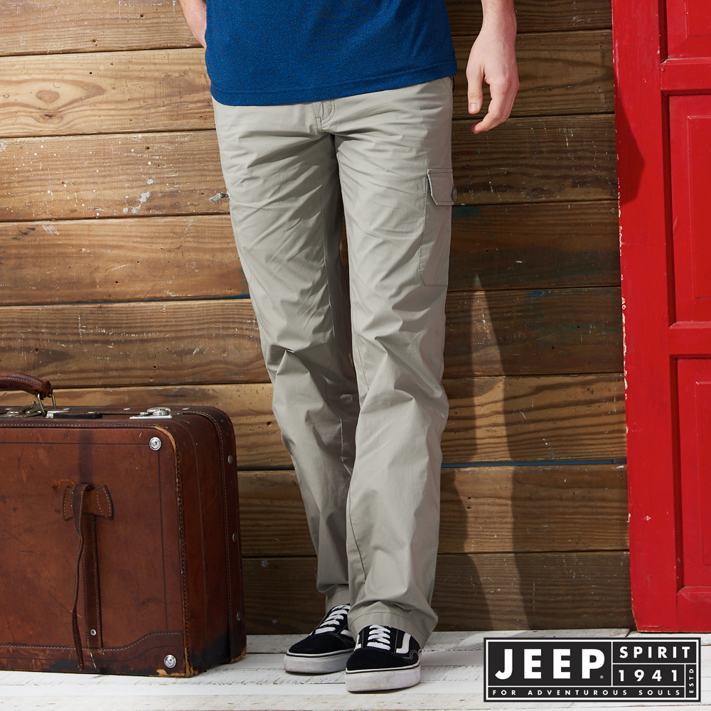JEEP 時尚造型口袋工作長褲 -淺灰