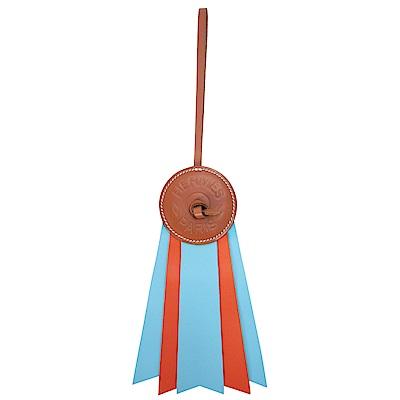 HERMES 愛馬仕Paddock Flot皮革撞色徽章吊飾/掛飾(水藍X磚紅)