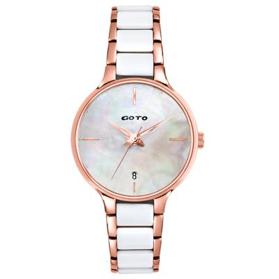 GOTO  貝語聲時尚陶瓷腕錶-GS5373L-42-H41/34mm