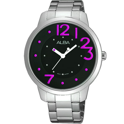 ALBA Fashion Lady 愛戀時尚腕錶(AH8163X)-黑x紫/38mm