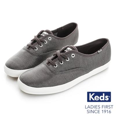 Keds 閃耀之星綁帶休閒鞋-金屬灰