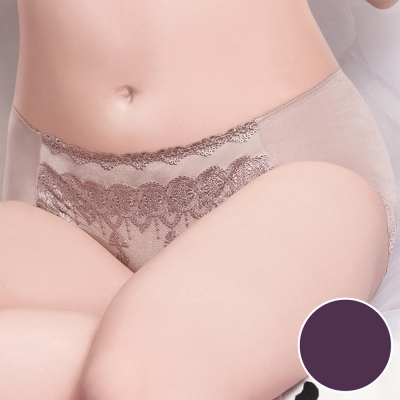 莎薇 魔力推推魔翼蕾絲-舒適無痕 M-2L 中低腰平口內褲(暗夜紫)