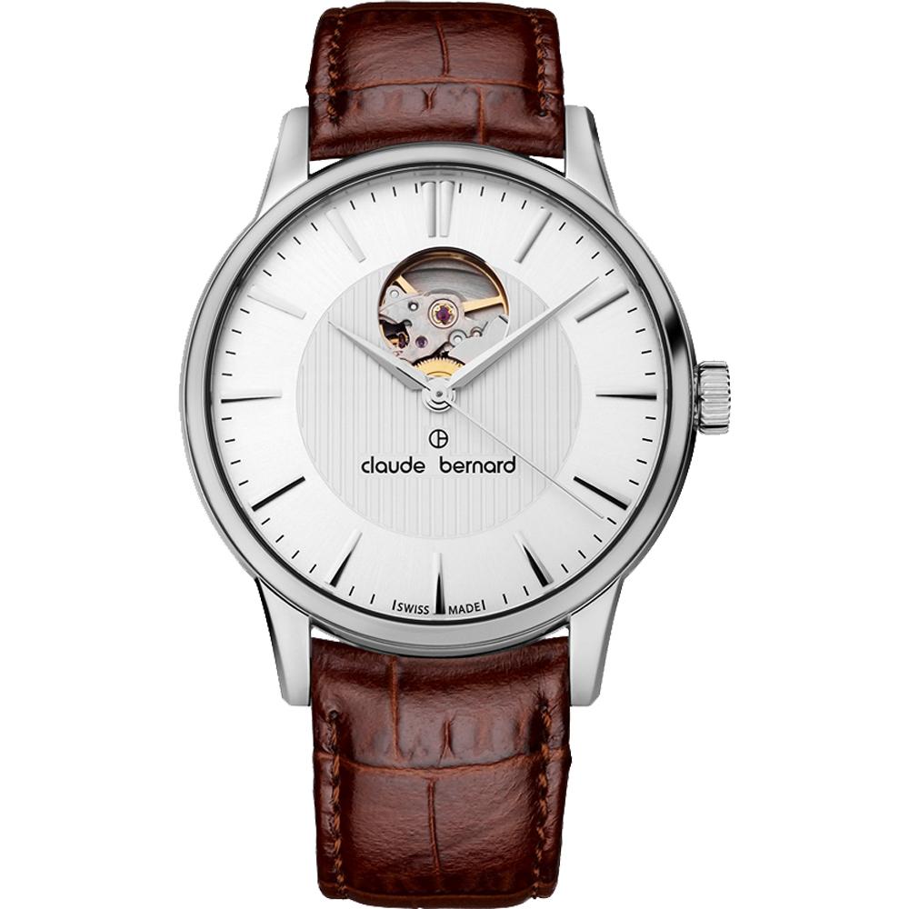 Claude Bernard Classic 系列鏤空機械腕錶-銀x咖啡/40mm