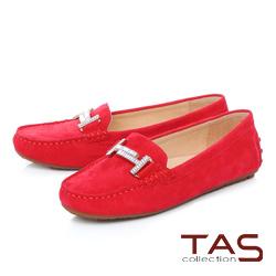 TAS T字白鑽雙扣麂皮莫卡辛便鞋-亮眼紅