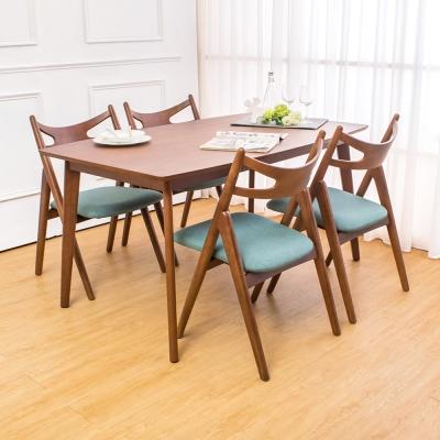 Boden-米洛5尺實木餐桌椅組(一桌四椅)-150x90x76cm
