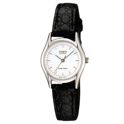 CASIO 經典簡約時尚鱷魚紋皮帶腕錶(LTP-1094E-7A)-白面/25mm