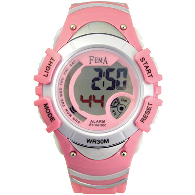 FEMA 炫彩流行 計時鬧鈴 數位運動錶(P308GB)-粉/37mm