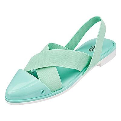 Melissa 摩登交叉帶時尚涼鞋-粉綠