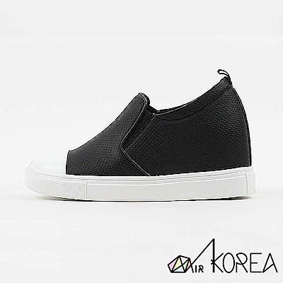 【AIRKOREA】洞洞皮革質感拼接休閒隱形增高鞋-黑-增高6.5公分