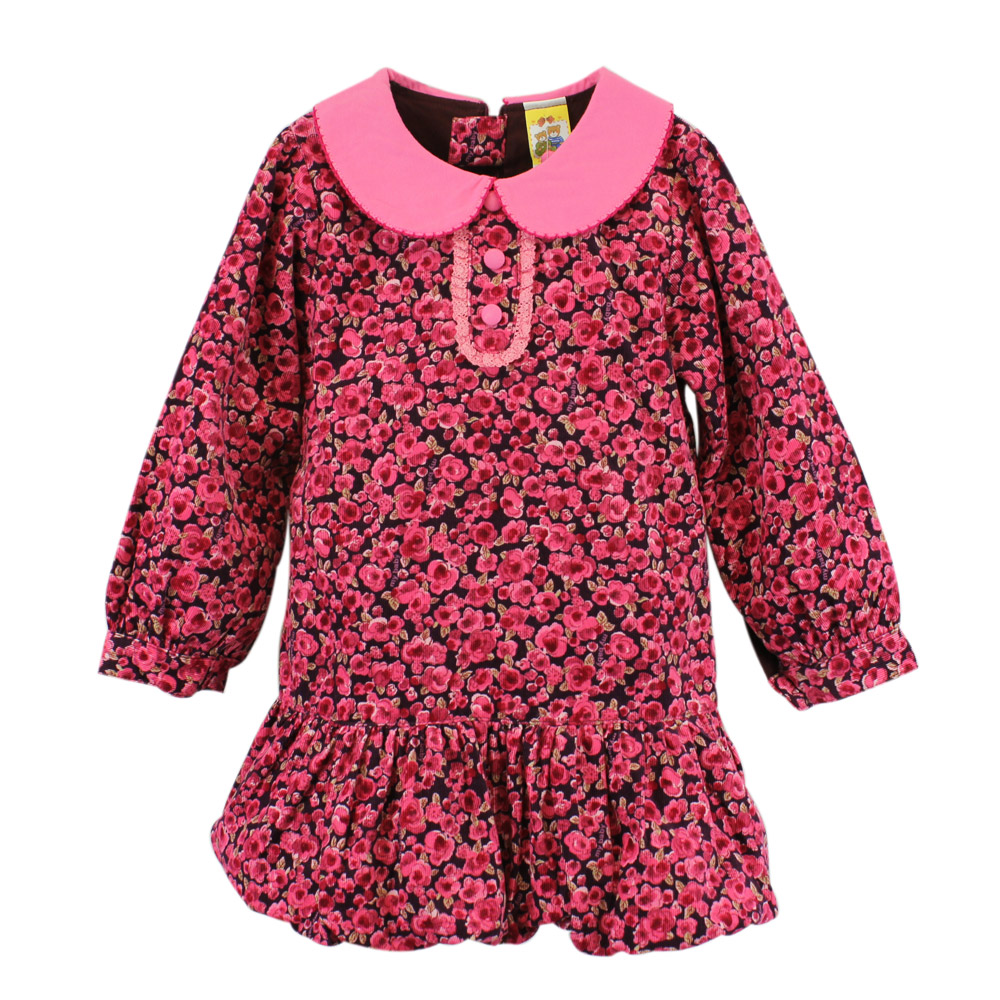 愛的世界 MYBABY 純棉條絨印花長袖洋裝/2~3歲