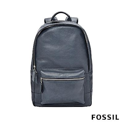 FOSSIL ESTATE 全真皮經典後背包-藍色