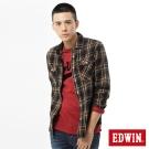 EDWIN 輕磨毛格紋剪接長袖襯衫-男-灰卡其