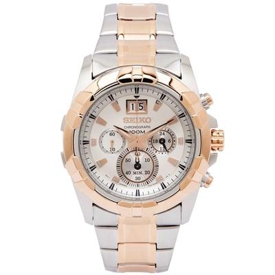 SEIKO 霸氣貴族風男性計時手錶(SPC188P1)-銀x玫瑰金框/42mm