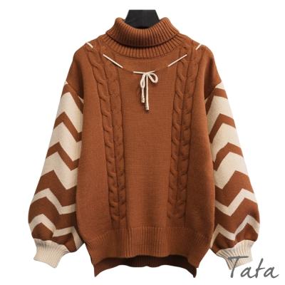 高領繫帶撞色針織上衣 共二色 TATA