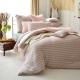 義大利La Belle 斯卡線曲 特大四件式色坊針織被套床包組-粉綠 product thumbnail 1