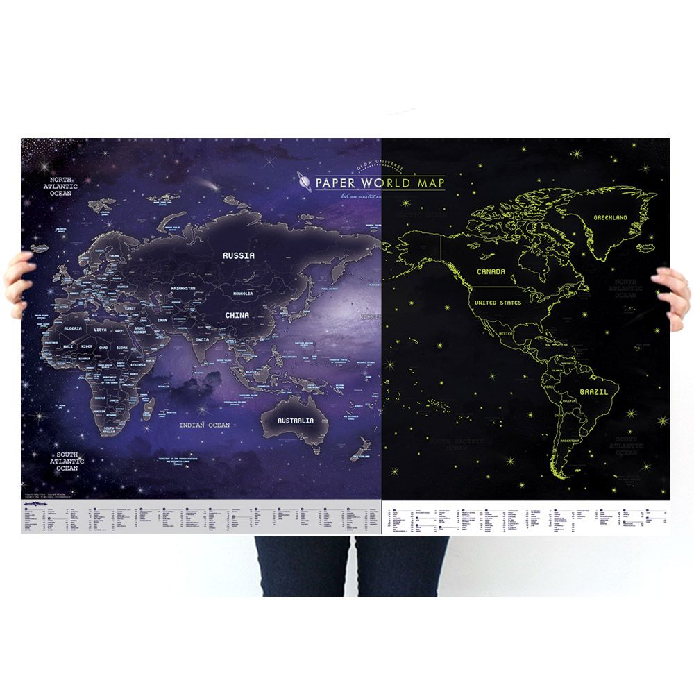 indimap 環遊世界世界地圖海報(改版-單張)-06夜光版