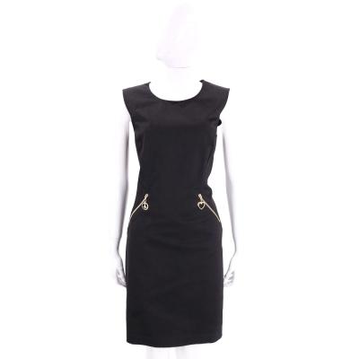 LOVE MOSCHINO 黑色雙口袋設計棉質無袖洋裝