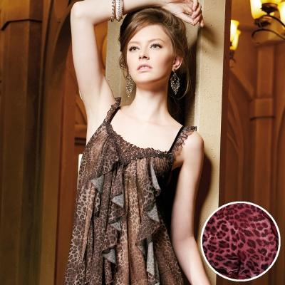 羅絲美睡衣 - 時尚豹紋性感細肩帶洋裝睡衣 (紅豹紋)