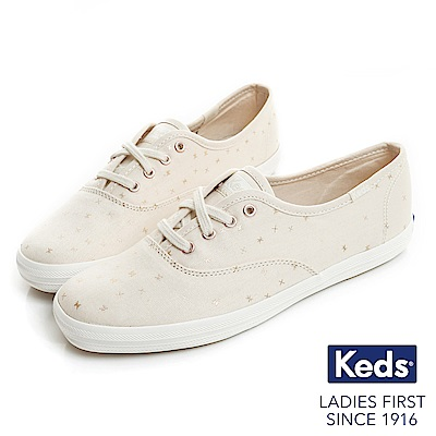 Keds CHAMPION 燙金圖騰綁帶休閒鞋-奶油白