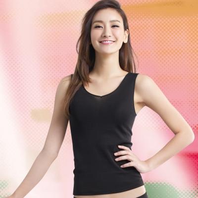 華歌爾 梳棉系列 M-LL V領背心款蘭姿(時尚黑)