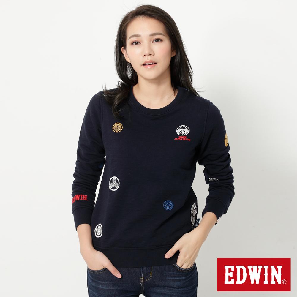 EDWIN 江戶勝家徽繡花長袖T恤-女-丈青色