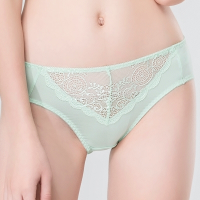 思薇爾 春漾佳人系列M-XXL蕾絲中腰三角內褲(鈴蘭綠)