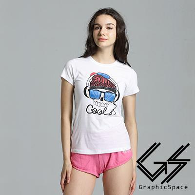 酷炫耳機骷髏頭磨毛水洗T恤 (白色)-GraphicSpace