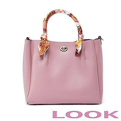 LOOK真皮絲巾手提包-俏麗女孩Queena系列-甜漾粉