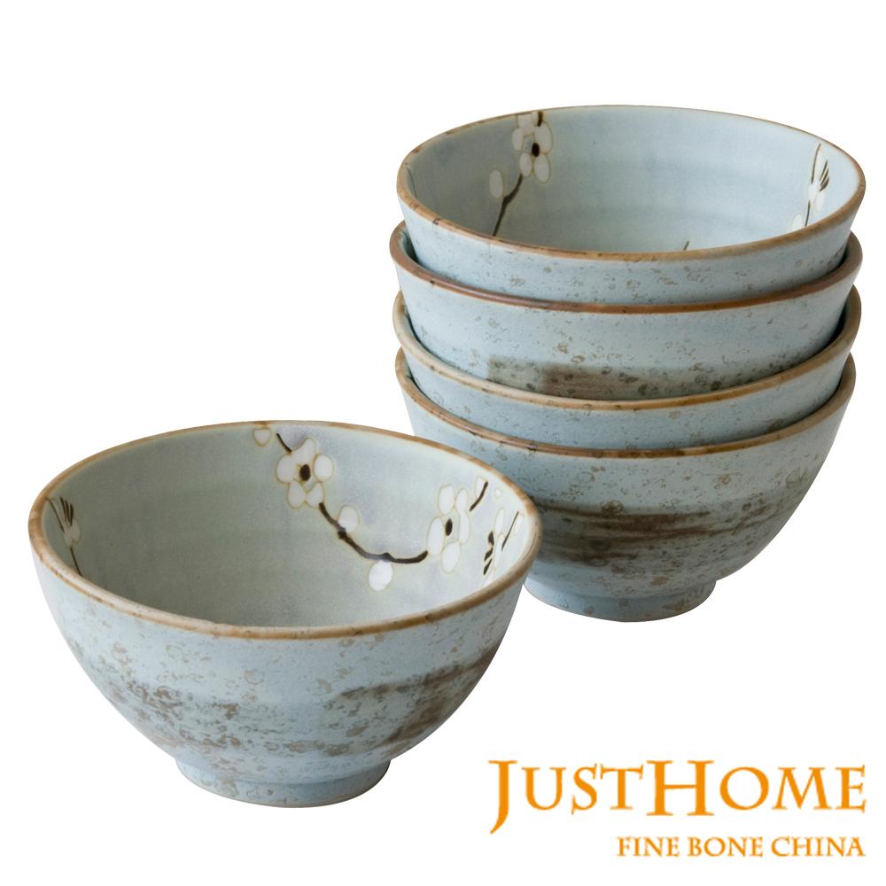 【Just Home】日本製白梅陶瓷飯碗5入組