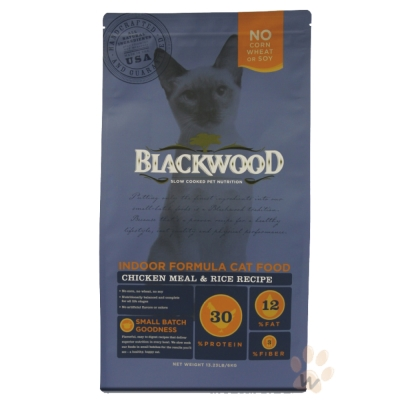 BLACKWOOD柏萊富-室內貓全齡優活配方(雞肉+米)13.23磅