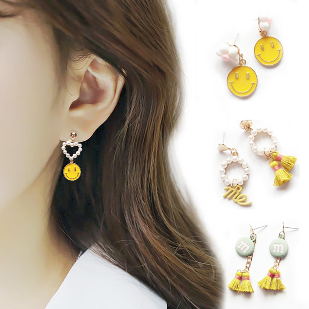 梨花HaNA 韓國南大門X獨家設計笑臉綠緞帶珍珠耳環多款選