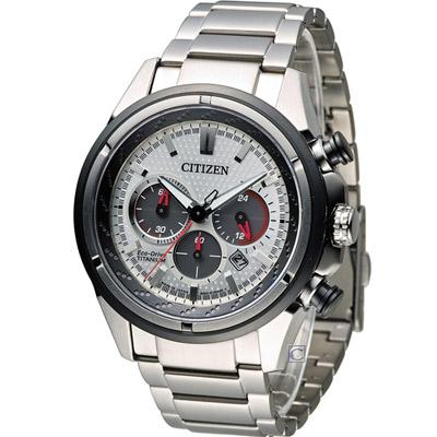 CITIZEN 星辰 Eco-Drive 超級鈦紳士計時腕錶-銀/ 43mm