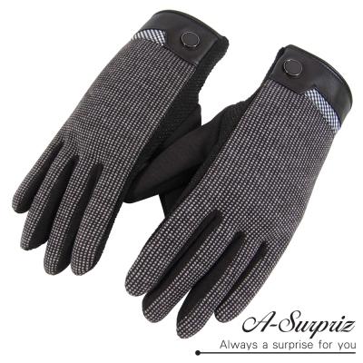 A-Surpriz-男仕細格紋防滑顆粒觸控手套-咖