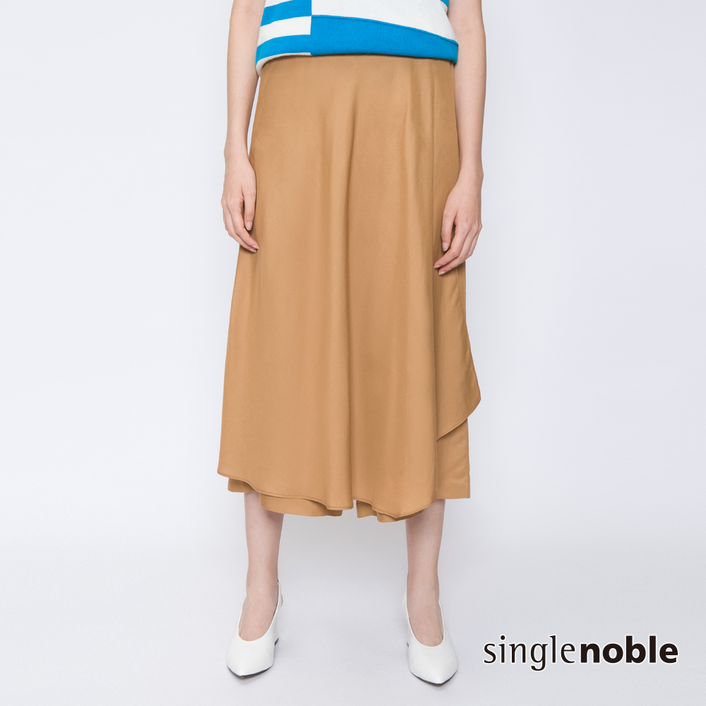 獨身貴族 復古況味純色斜片拼接寬褲(2色)