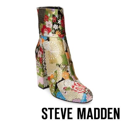 STEVE MADDEN-GOLDIE-BRIGHT 布面粗跟拉鍊中筒靴-花漾綠