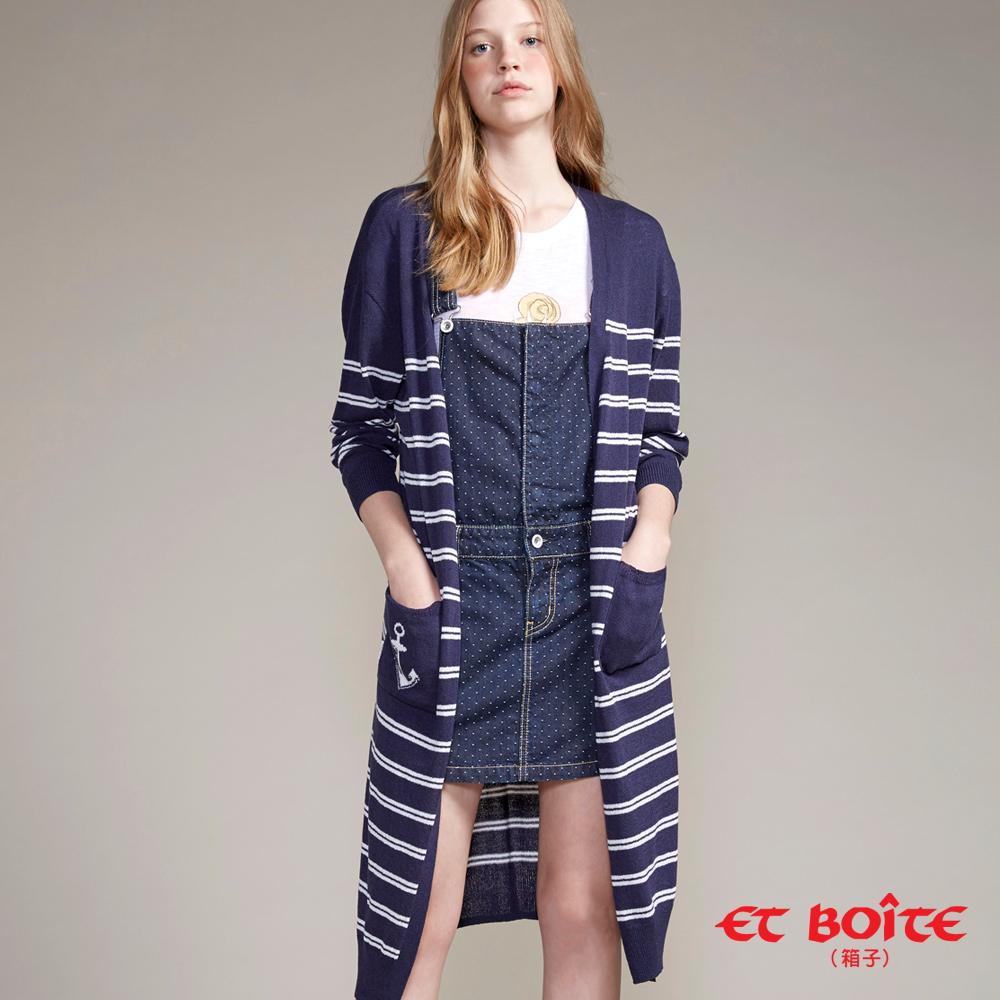 ETBOITE 箱子 BLUE WAY  海軍風船錨條紋針織外套-丈青