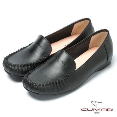 CUMAR台灣製造 舒適真皮平底鞋-黑色