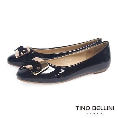 Tino-Bellini-剛柔金屬方釦蝴蝶結小方頭