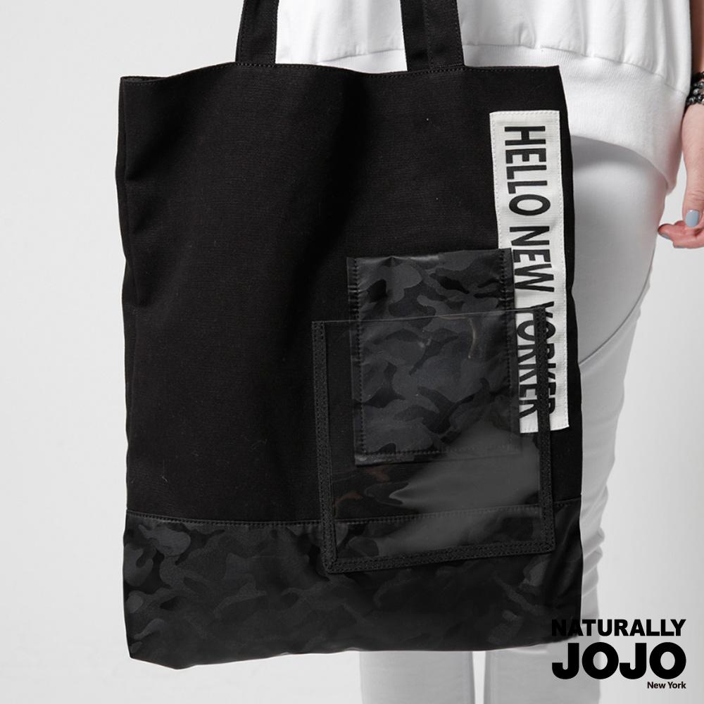 【NATURALLY JOJO】迷彩多口袋萬用帆布包(黑)